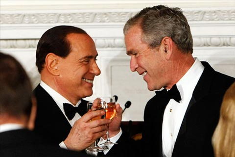 Italian Prime Minister Silvio Berlusconi and George W. Bush