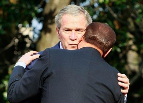 Italian Prime Minister Silvio Berlusconi and George W. Bush