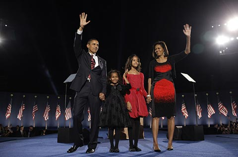 US President Barack Obama with family