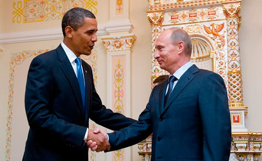 Prime Minister of Russia Vladimir Putin and U.S. President Barack Obama in Russia