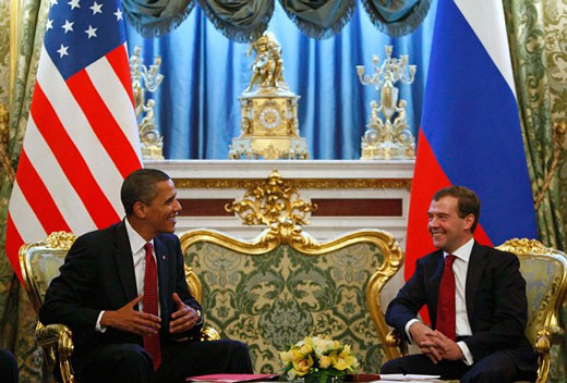 President of Russia Dmitry Medvedev and U.S. President Barack Obama in Russia