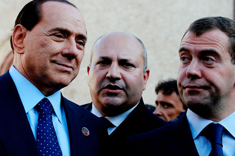 G8 - The Prime Minister of Italy Silvio Berlusconi and the president of Russia Dmitry Medvedev