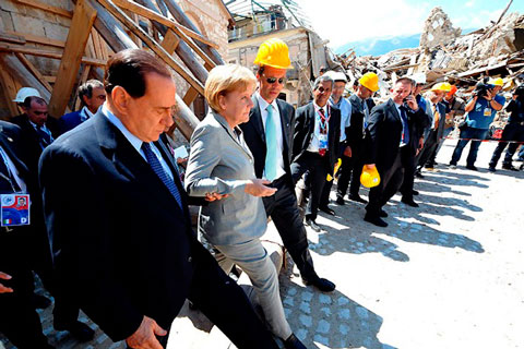 G8 Summit - Silvio Berlusconi and Angela Merkel