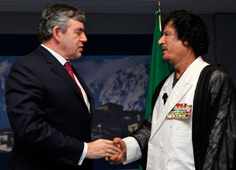 British Prime Minister Gordon Brown and Libyan leader Muammar al-Gaddafi